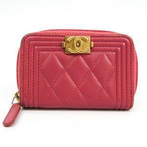 Chanel Boy Chanel A80602 Women's Leather Coin Purs